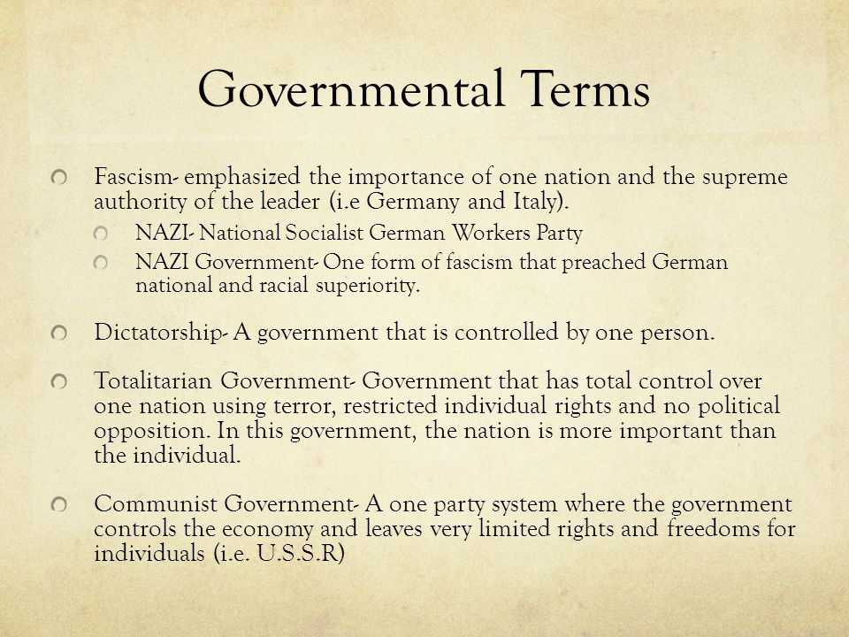 Governmental Terms Fascism- emphasized the importance of one nation and the supreme authority of the leader (i.e Germany and Italy).