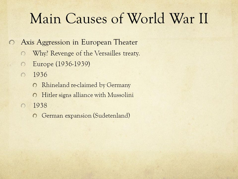 Main Causes of World War II