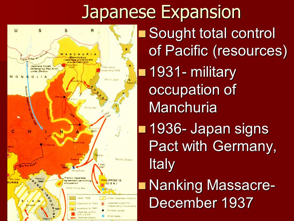Japanese Expansion Sought total control of Pacific (resources)