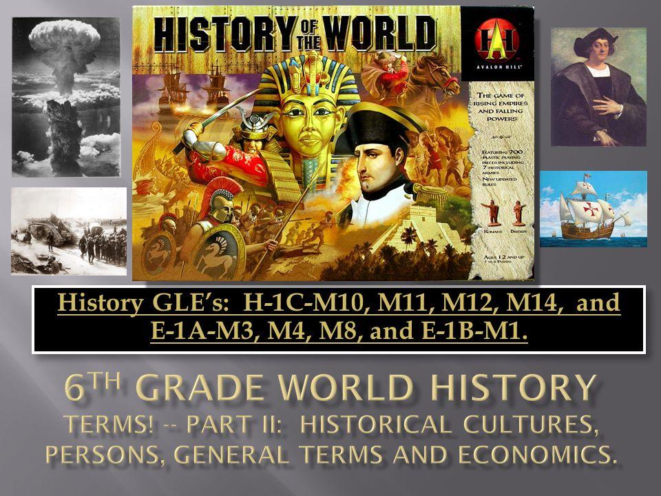 History GLE's: H-1C-M10, M11, M12, M14, and E-1A-M3, M4, M8, and E-1B-M1.