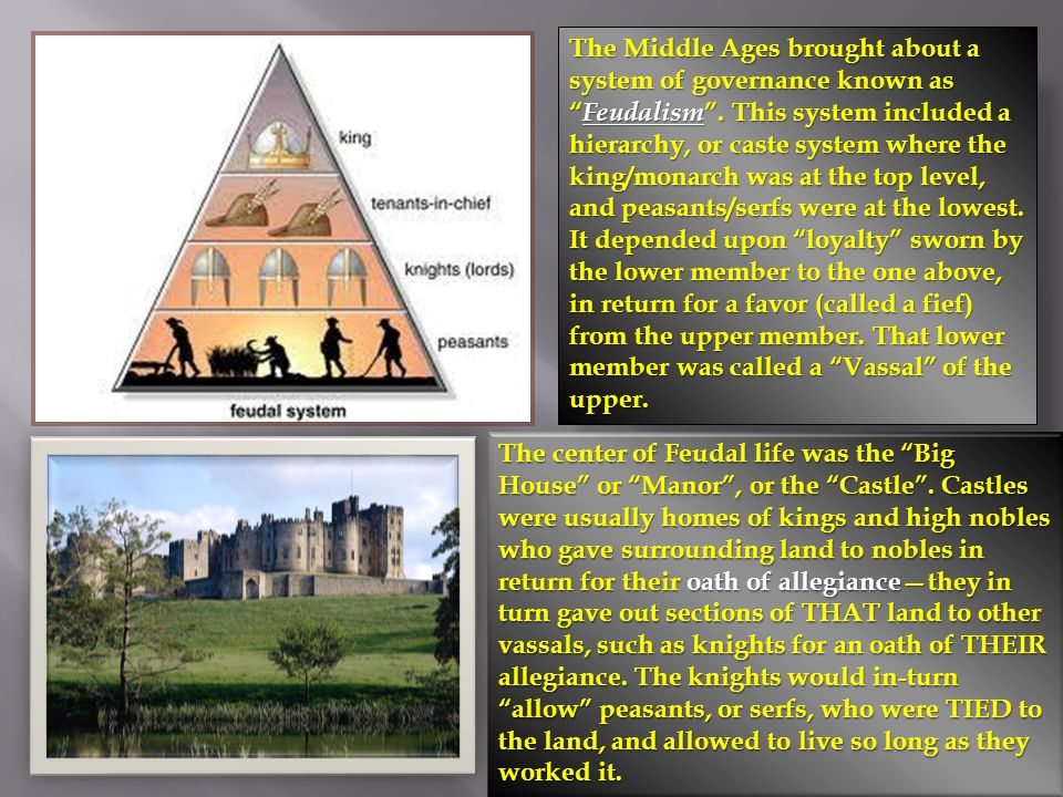 The Middle Ages brought about a system of governance known as Feudalism . This system included a hierarchy, or caste system where the king/monarch was at the top level, and peasants/serfs were at the lowest. It depended upon loyalty sworn by the lower member to the one above, in return for a favor (called a fief) from the upper member. That lower member was called a Vassal of the upper.