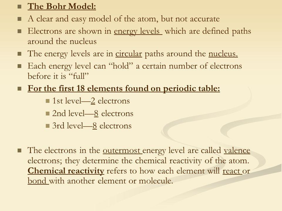 The Bohr Model: A clear and easy model of the atom, but not accurate.