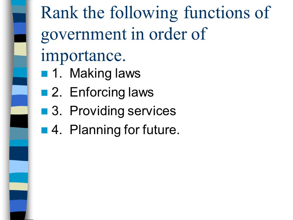 Rank the following functions of government in order of importance.