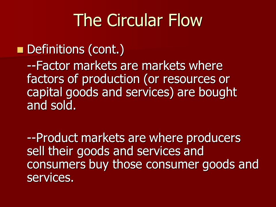 The Circular Flow Definitions (cont.)
