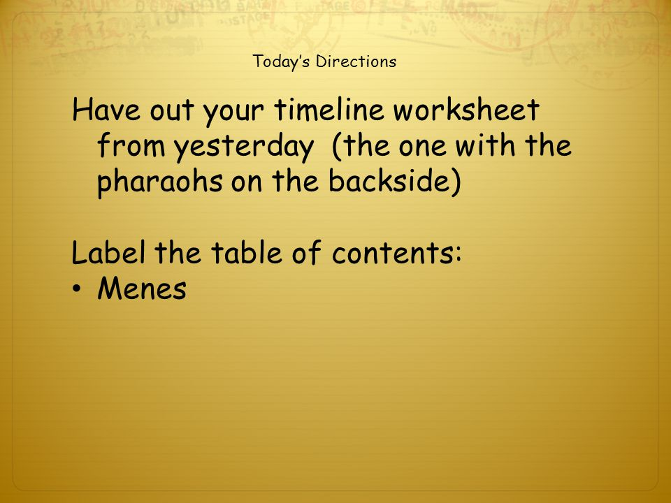 Label the table of contents: Menes
