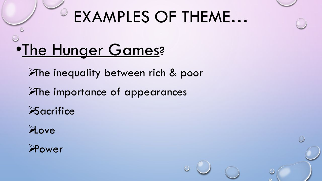 Examples of theme… The Hunger Games