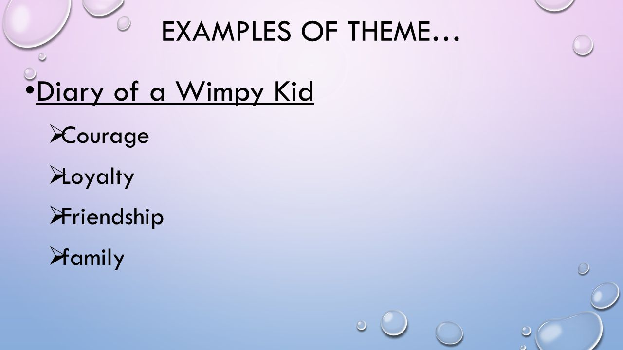 Examples of theme… Diary of a Wimpy Kid Courage Loyalty Friendship