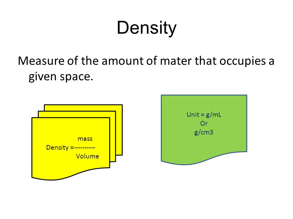 Density Measure of the amount of mater that occupies a given space.