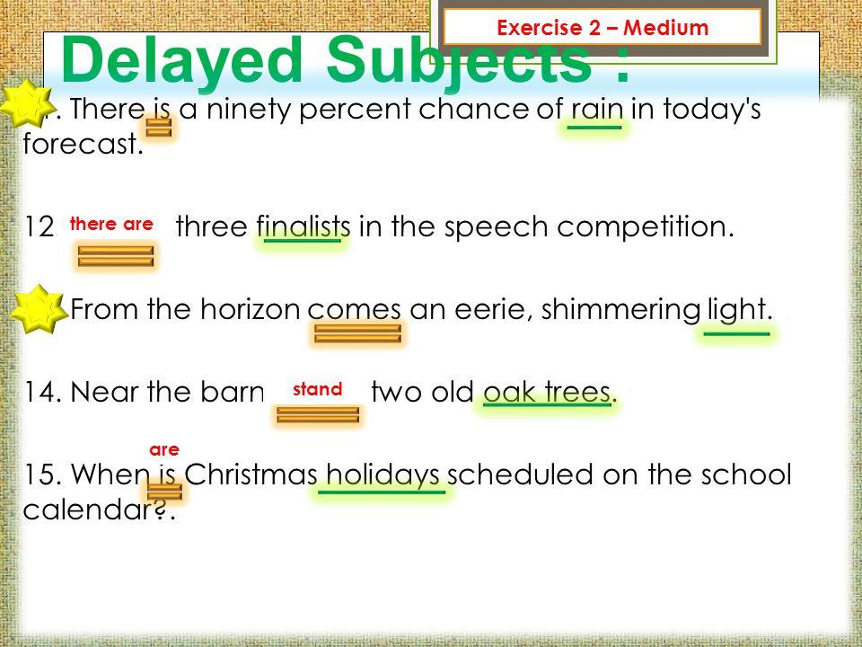 Exercise 2 – Medium Delayed Subjects :