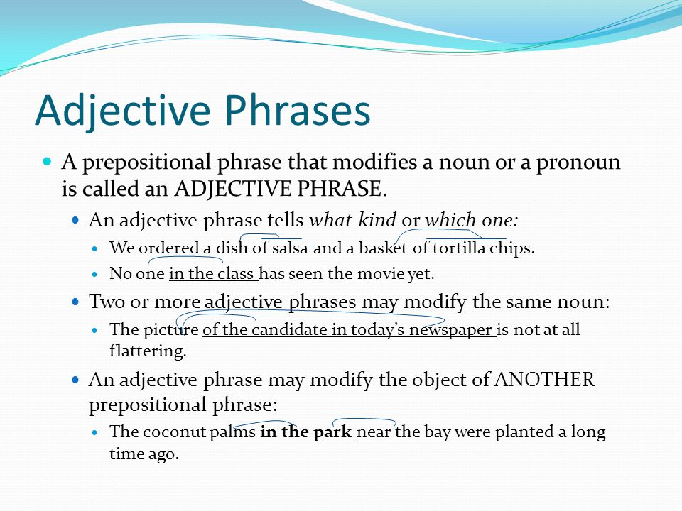Adjective Phrases A prepositional phrase that modifies a noun or a pronoun is called an ADJECTIVE PHRASE.