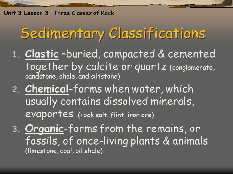 Sedimentary Classifications