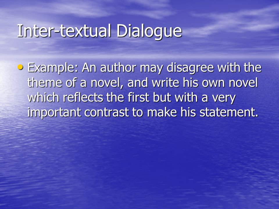 Inter-textual Dialogue