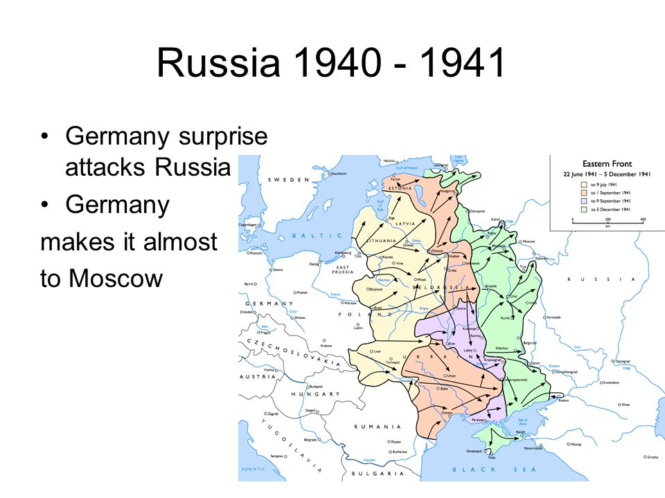 Russia 1940 - 1941 Germany surprise attacks Russia Germany