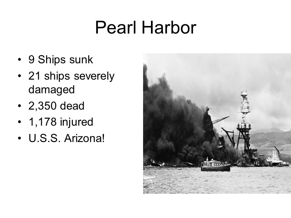 Pearl Harbor 9 Ships sunk 21 ships severely damaged 2,350 dead