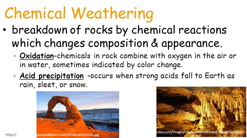 Chemical Weathering Unit 1 Lesson 2 Weathering. breakdown of rocks by chemical reactions which changes composition & appearance.