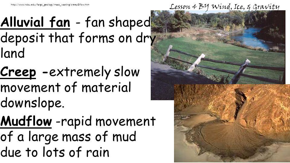 Alluvial fan - fan shaped deposit that forms on dry land