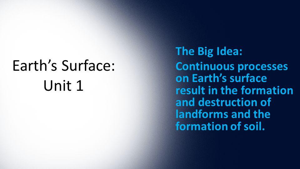 Earth's Surface: Unit 1 The Big Idea:
