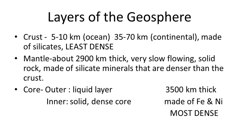 Layers of the Geosphere