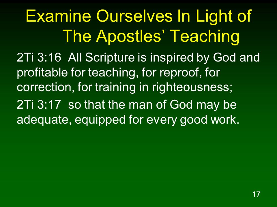 Examine Ourselves In Light of The Apostles' Teaching