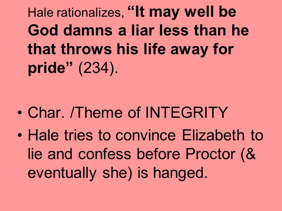 Char. /Theme of INTEGRITY