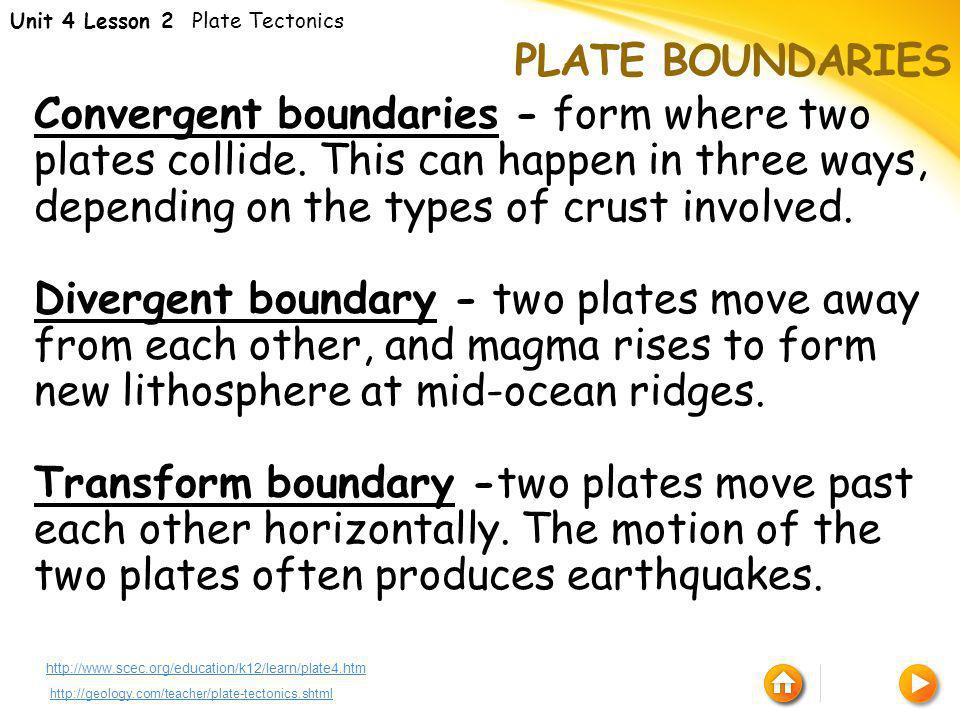Unit 4 Lesson 2 Plate Tectonics
