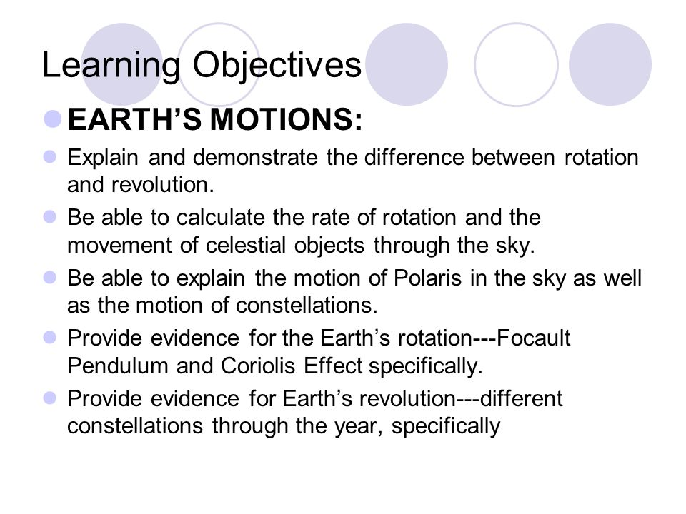 Learning Objectives EARTH'S MOTIONS: