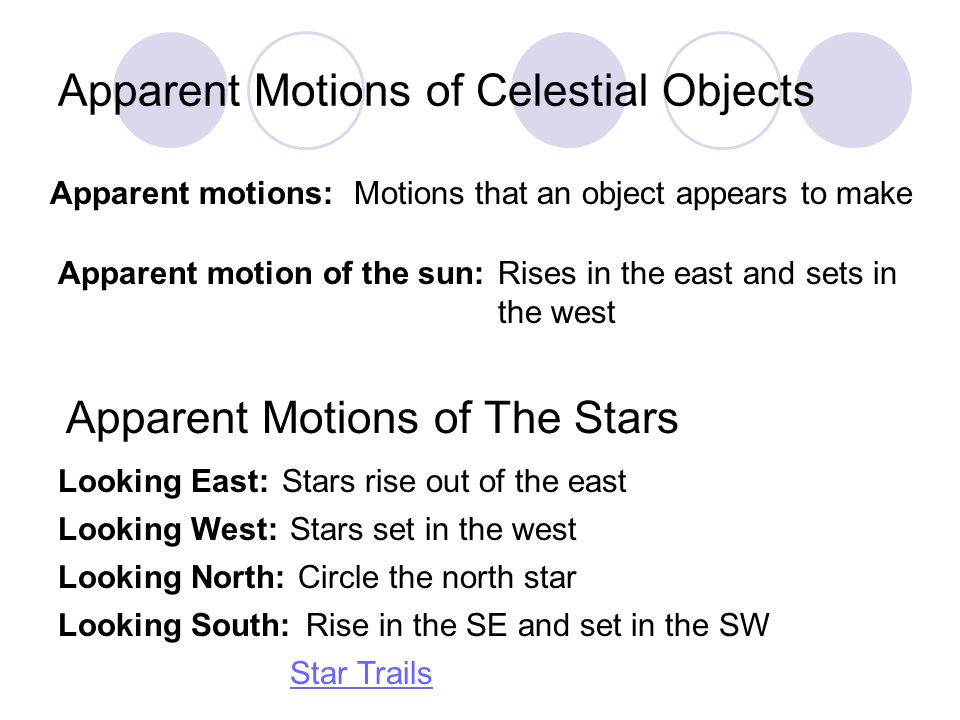Apparent Motions of Celestial Objects