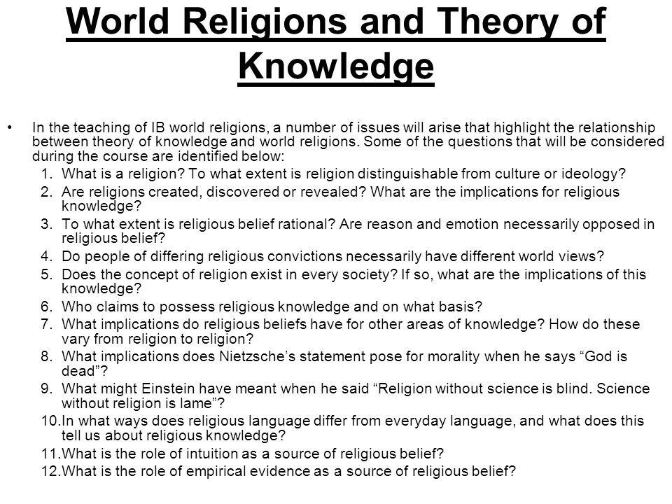 World Religions and Theory of Knowledge