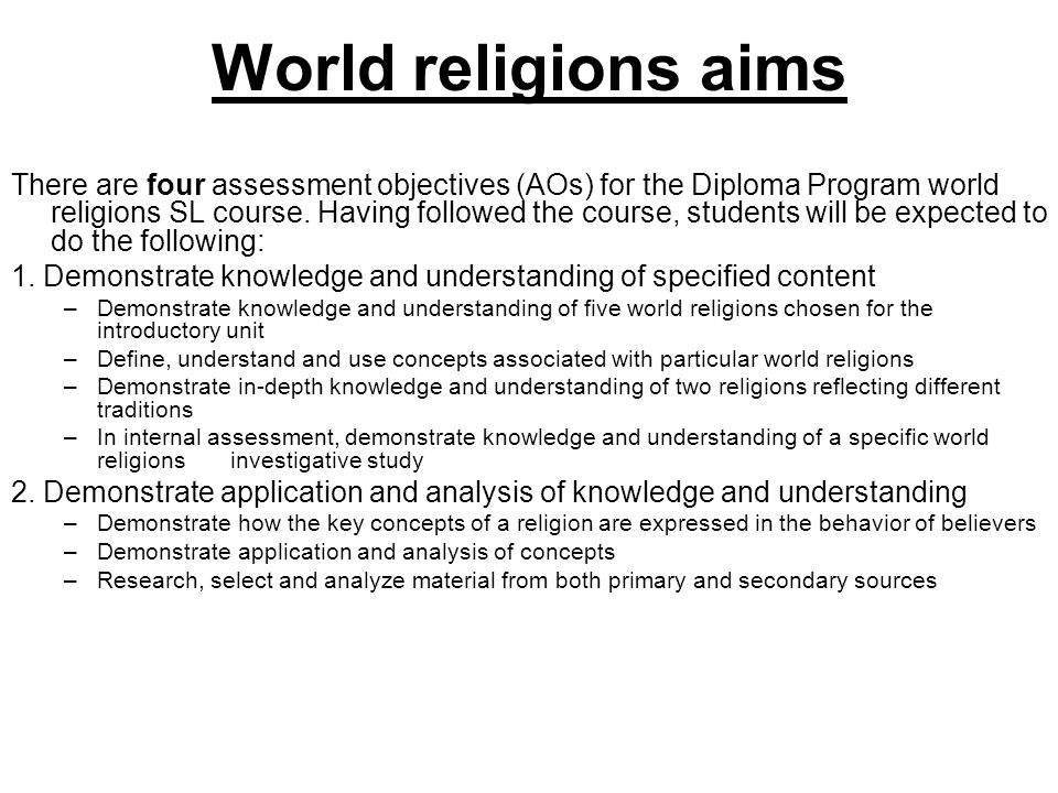 World religions aims