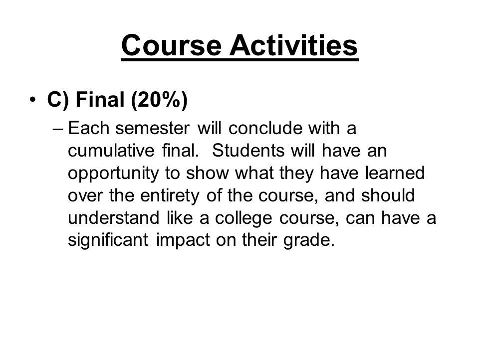 Course Activities C) Final (20%)