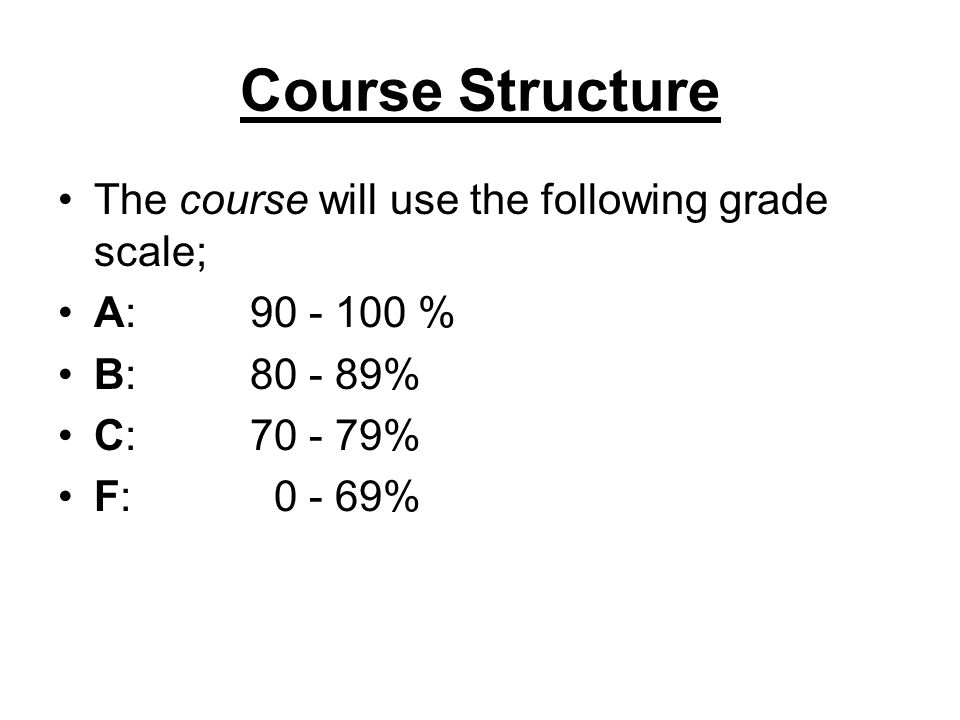 Course Structure The course will use the following grade scale;