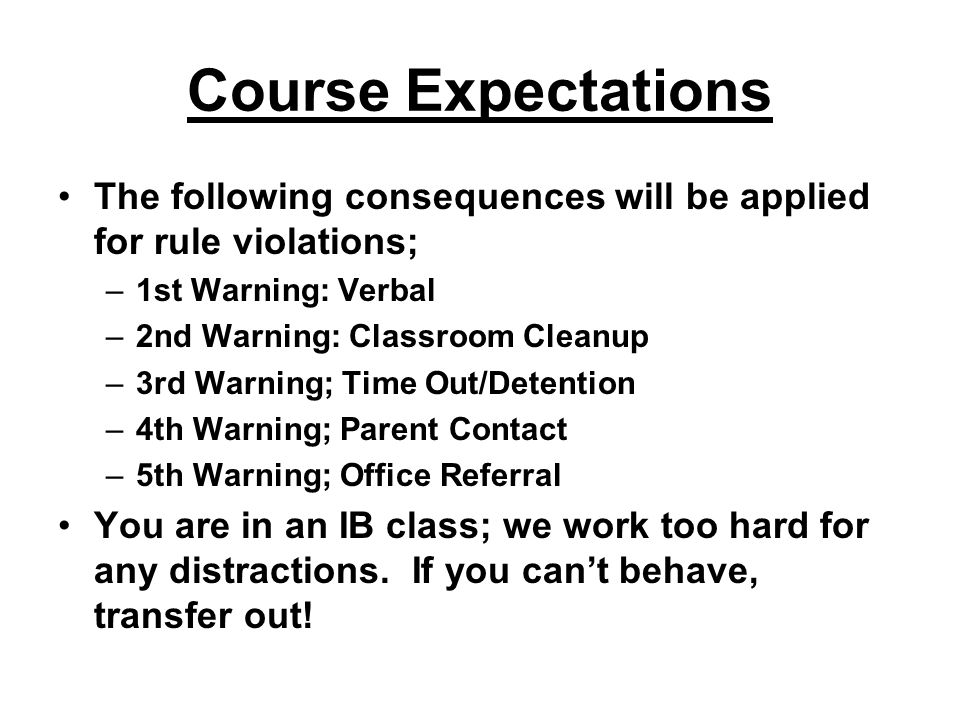 Course Expectations The following consequences will be applied for rule violations; 1st Warning: Verbal.