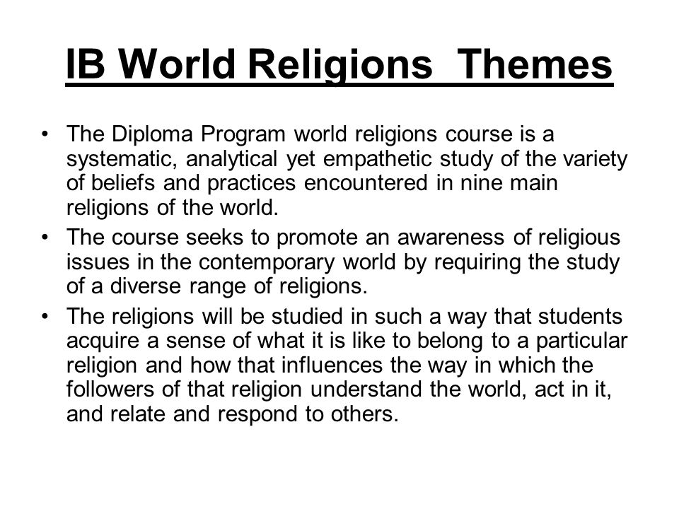 IB World Religions Themes