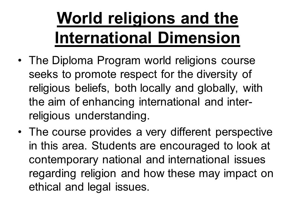 World religions and the International Dimension