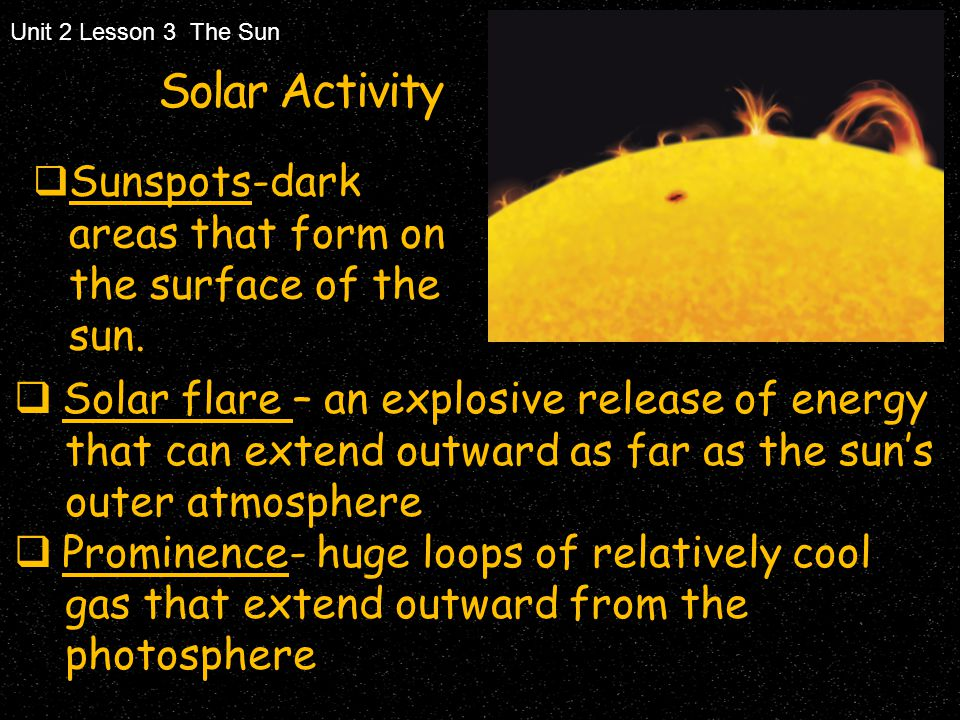 Unit 2 Lesson 3 The Sun Solar Activity. Sunspots-dark areas that form on the surface of the sun.