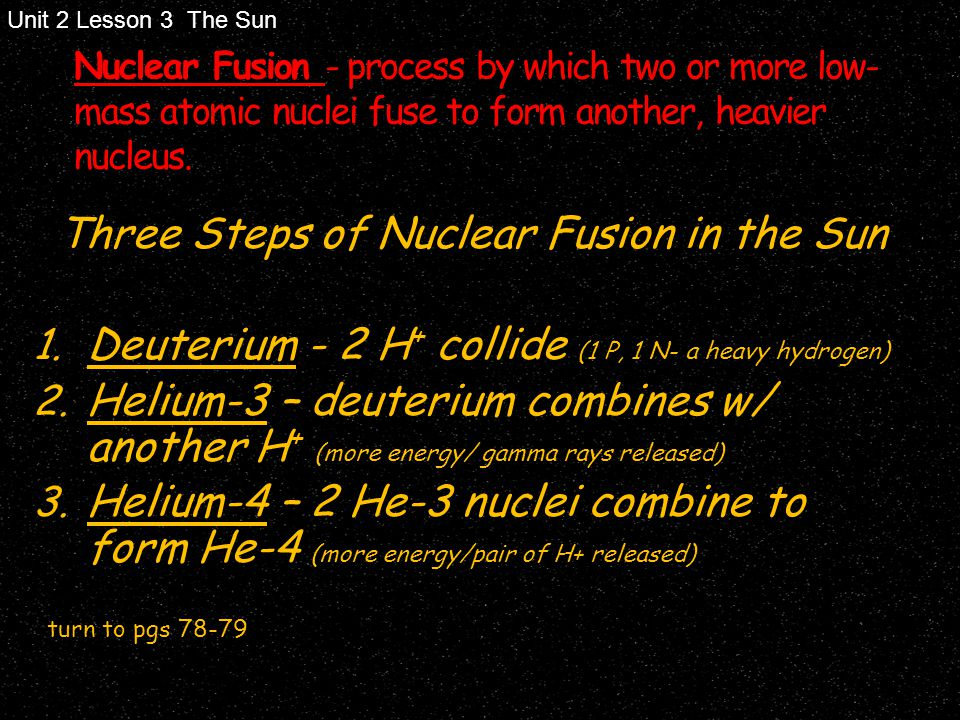 Three Steps of Nuclear Fusion in the Sun