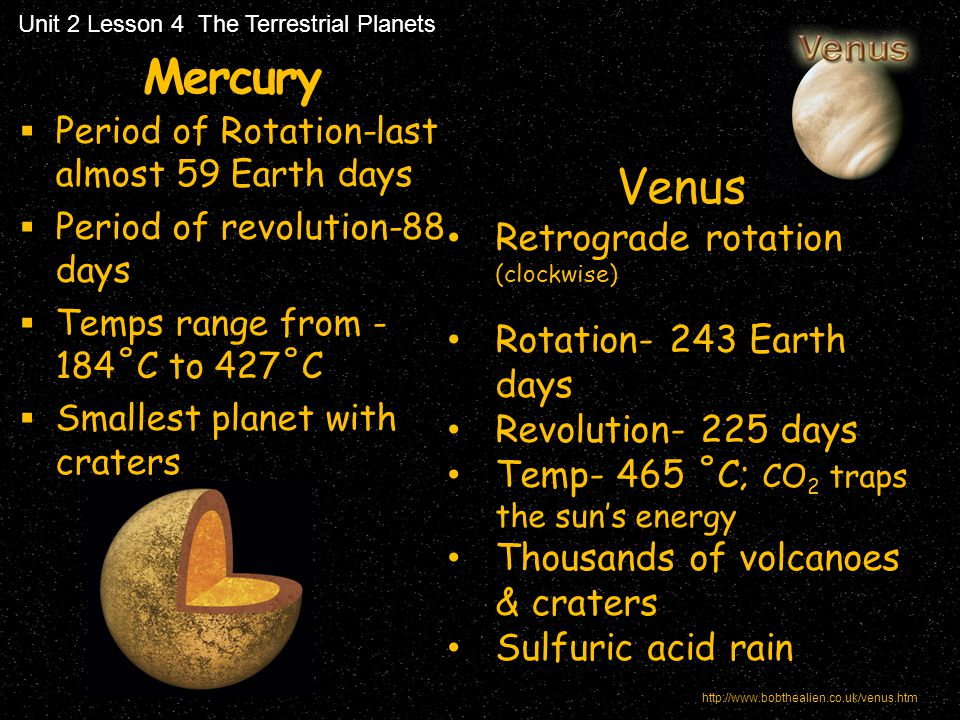 Mercury Venus Retrograde rotation (clockwise) Rotation- 243 Earth days