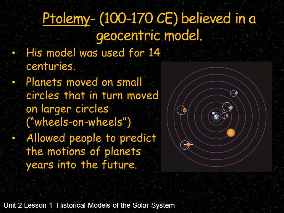 Ptolemy- (100-170 CE) believed in a geocentric model.