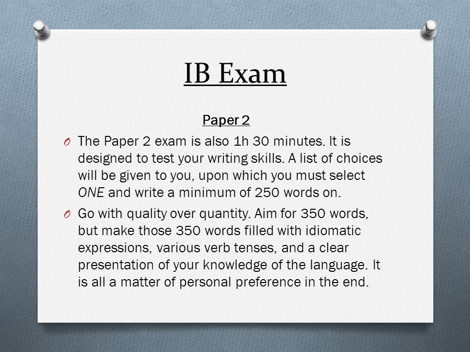 IB Exam Paper 2.