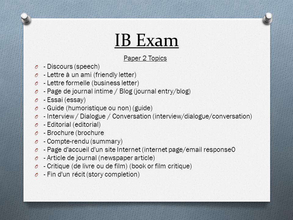 IB Exam Paper 2 Topics - Discours (speech)