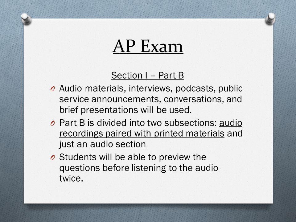 AP Exam Section I – Part B
