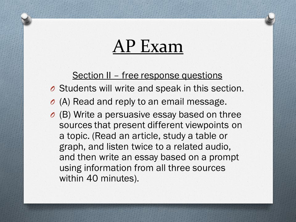 Section II – free response questions