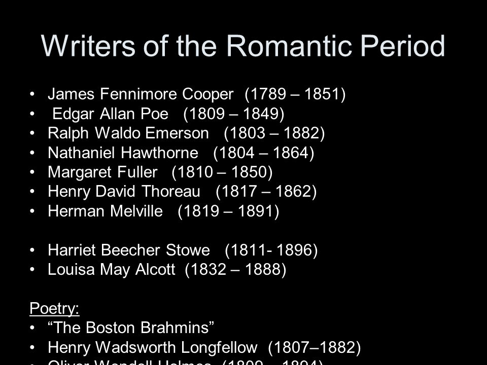 Writers of the Romantic Period