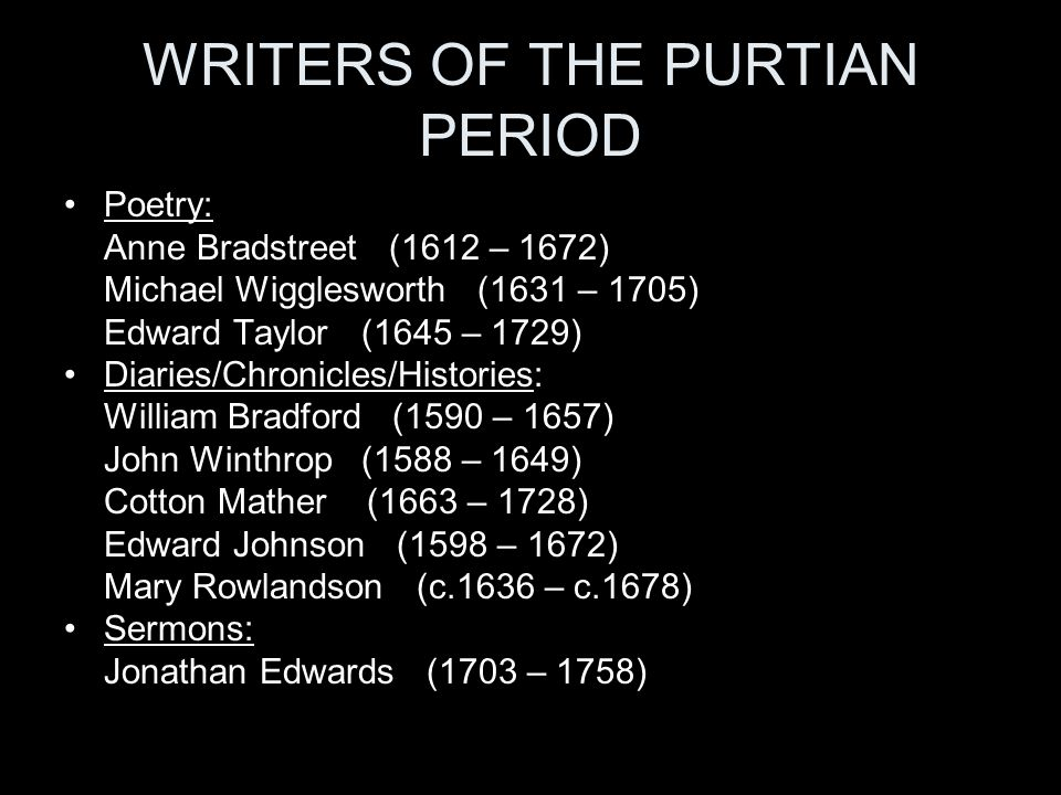 WRITERS OF THE PURTIAN PERIOD