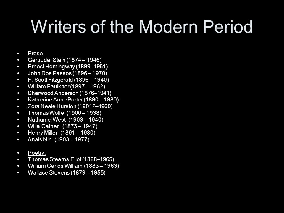 Writers of the Modern Period