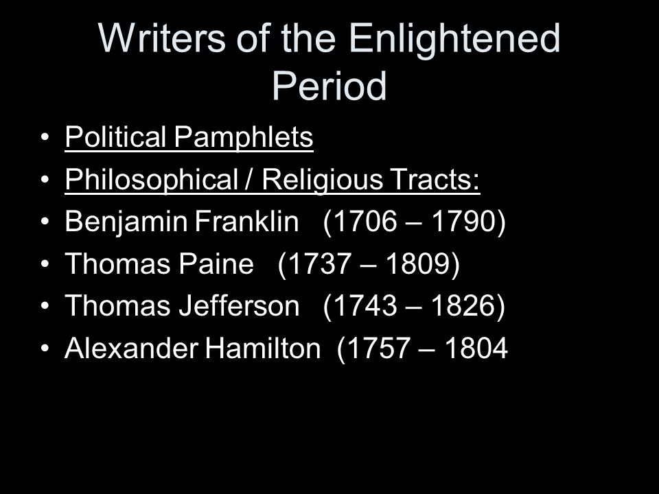 Writers of the Enlightened Period