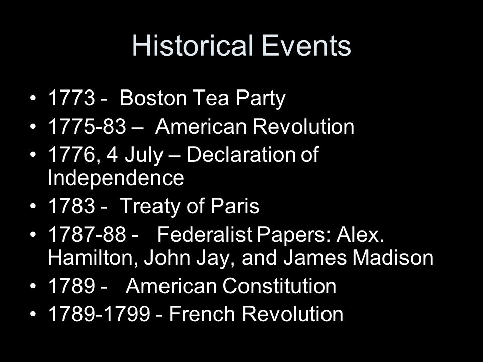 Historical Events 1773 - Boston Tea Party