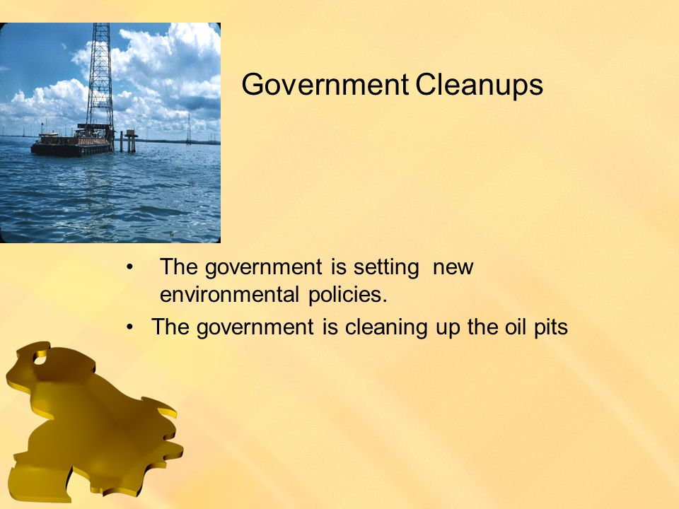 Government Cleanups The government is setting new environmental policies.