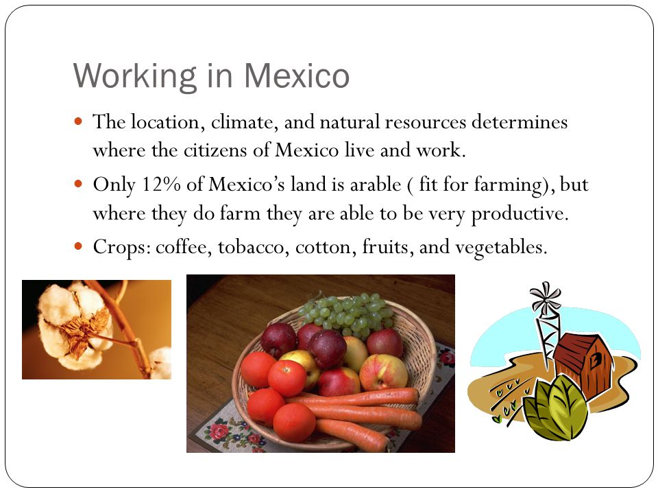 Working in Mexico The location, climate, and natural resources determines where the citizens of Mexico live and work.