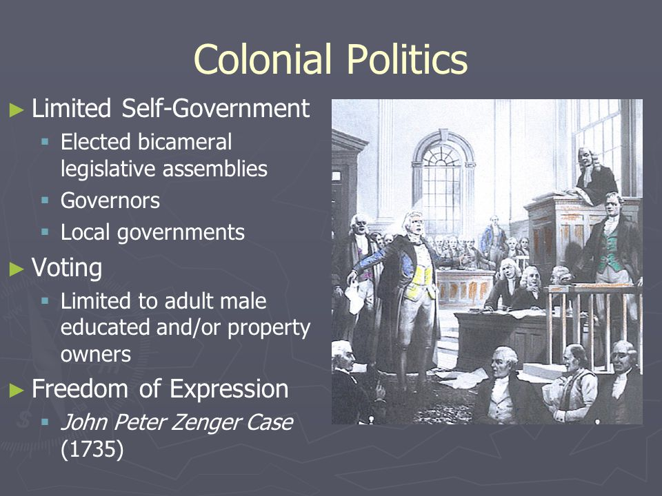 Colonial Politics Limited Self-Government Voting Freedom of Expression